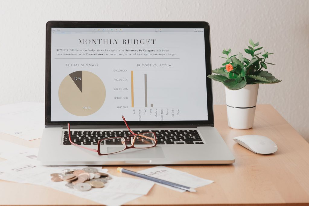 monthly budget on a laptop