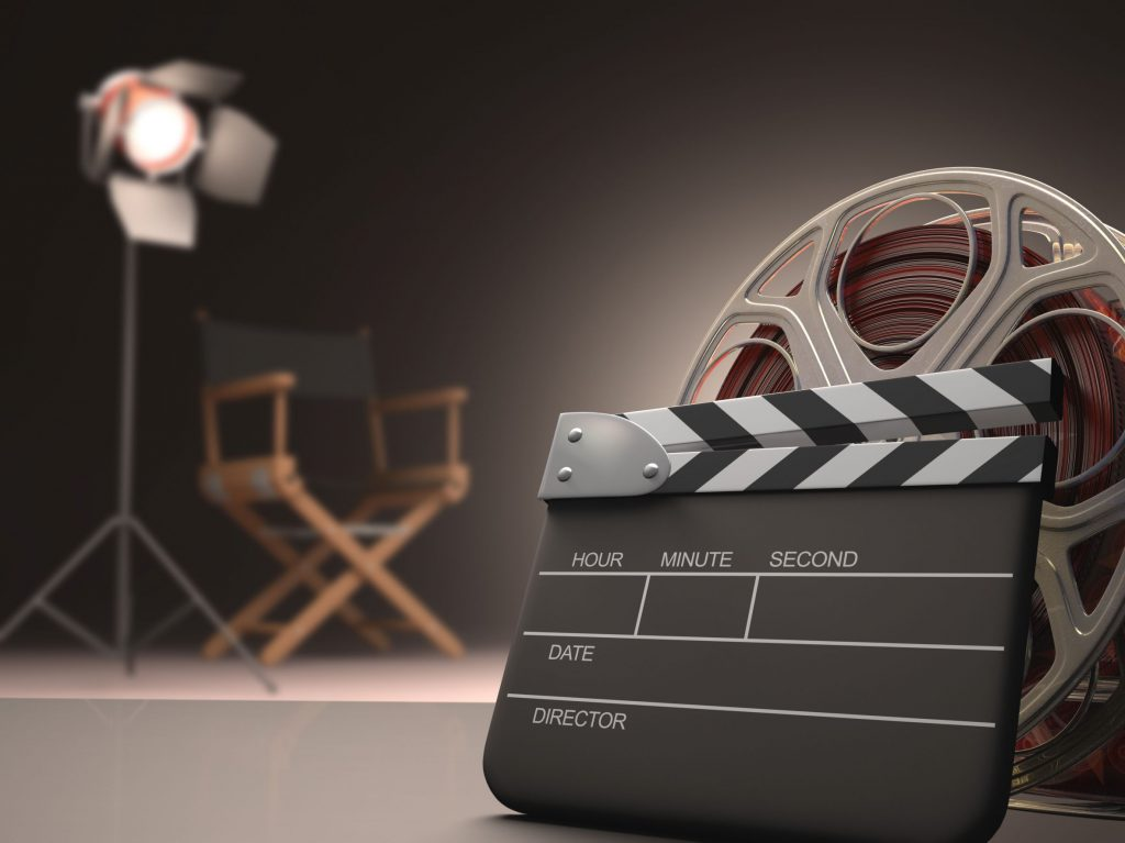 cinema concept with a clapboard