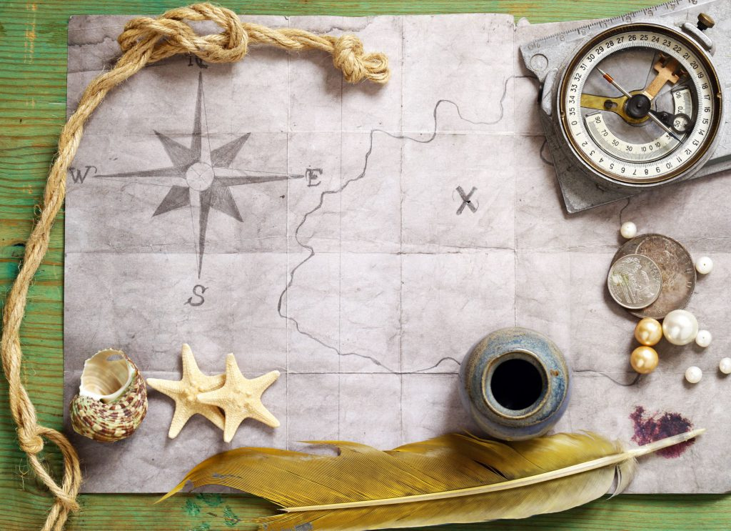 map with compass and quill